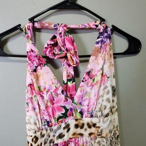 Dresses & Skirts - Pink Floral Print Summer Hi-Lo Maxi Dress